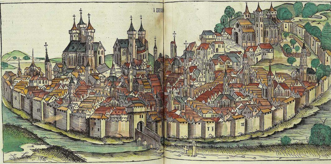 Ansicht Erfurt aus der Schedelschen Weltchronik