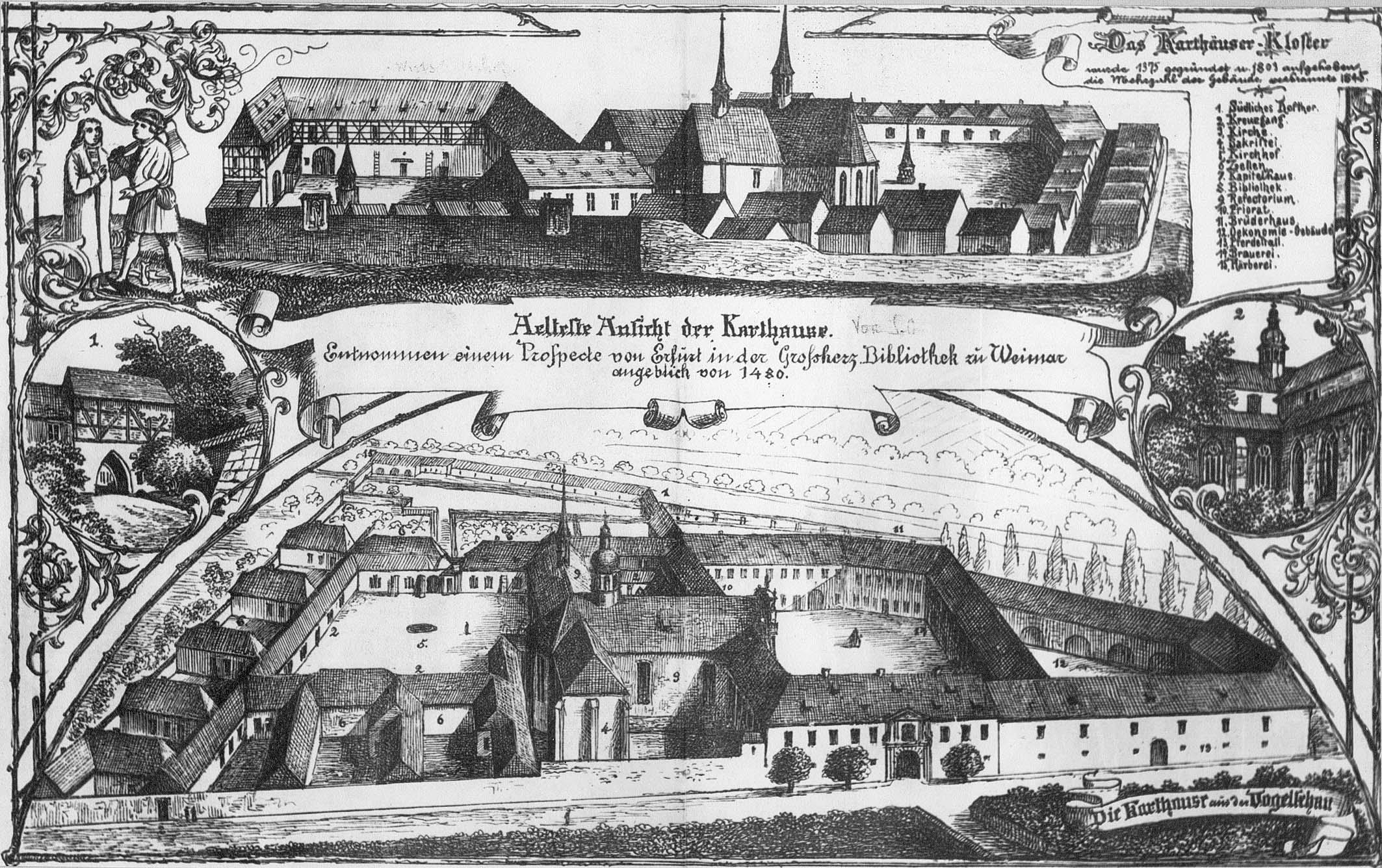 Historische Gesamtansicht der Erfurter Kartause