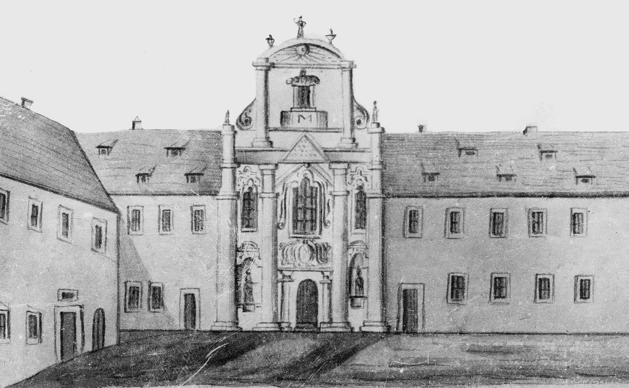 Historische Ansicht vom Portal der Erfurter Kartause